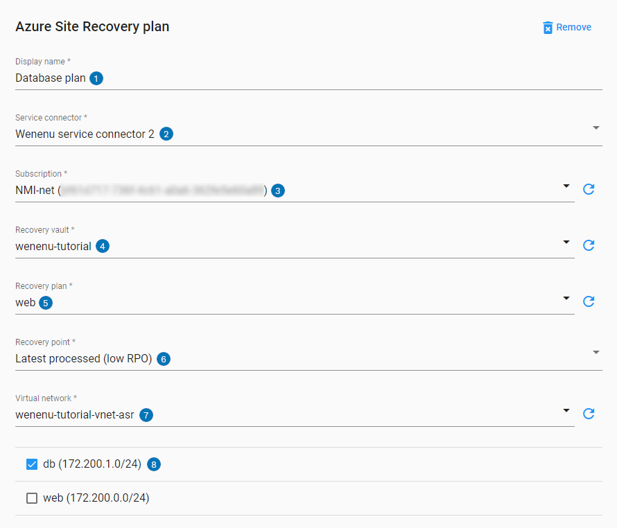 Azure Site Recovery step UI settings