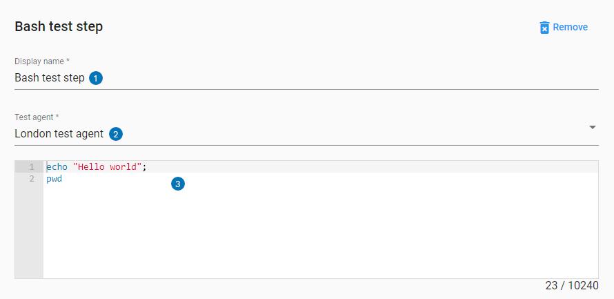 Bash step UI settings