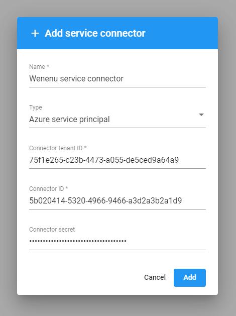 Azure Service Principal service connector