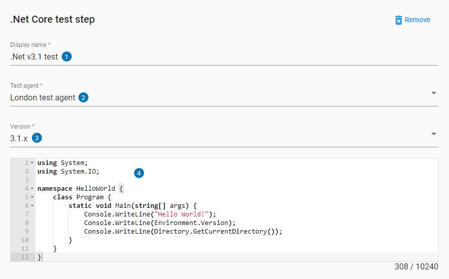 .NET core step UI settings