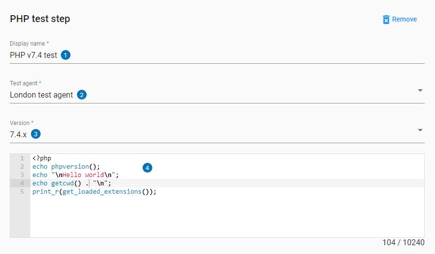 PHP step UI settings