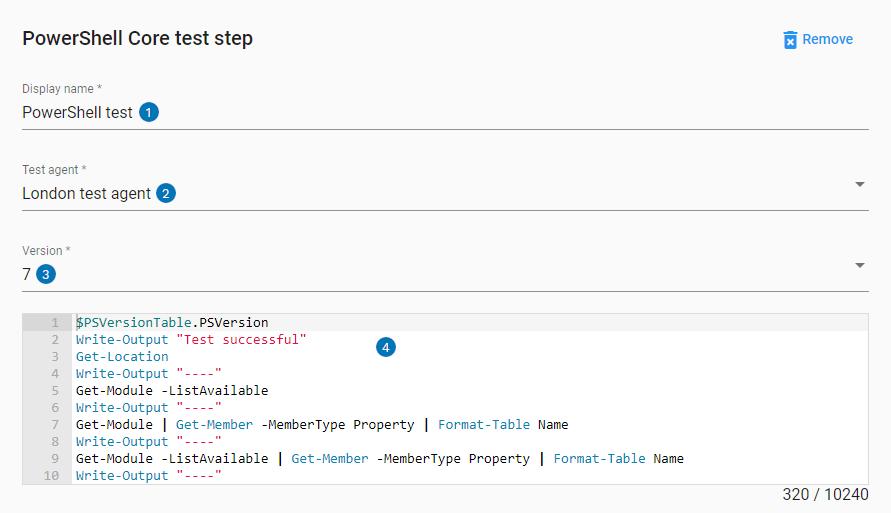 PowerShell core step UI settings