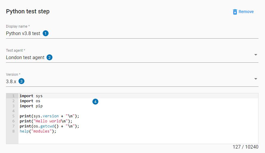 Python step UI settings