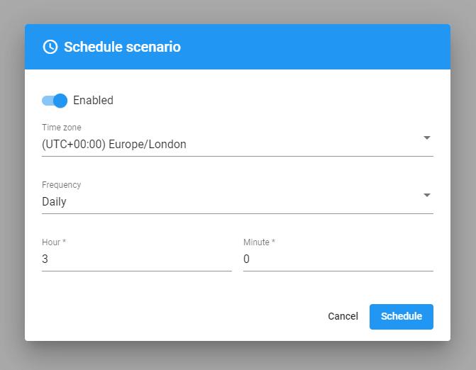 Schedule scenario