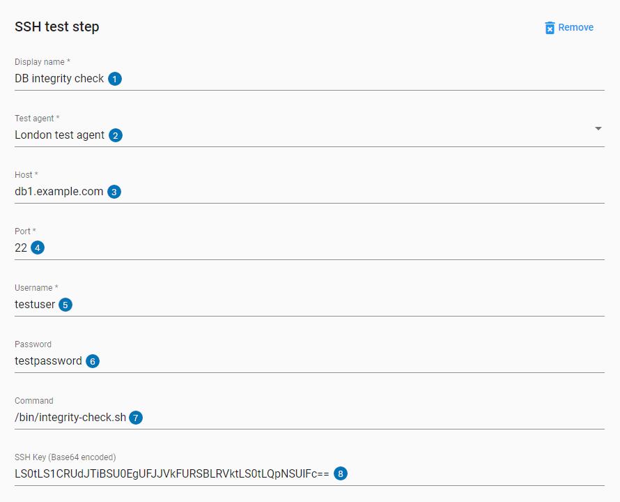 SSH step UI settings